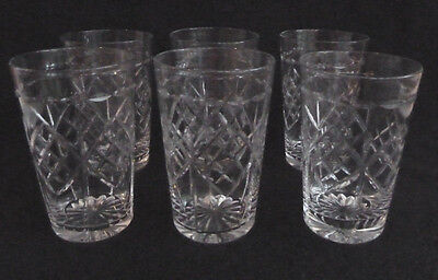 Set Six Cut Glass Tumblers / Glasses