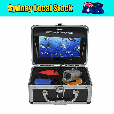 """New 50m Silver 1000TVL Fish Finder Underwater Fishing Video Cam 7"""" TFT Color LCD"""