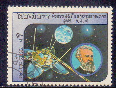 Laos Stamp Jules Verne & Luna 13 Theme  Outer Space 1984.