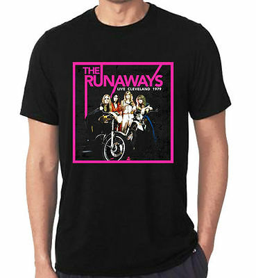 New Rare The Runaways band Tour dates Black Design T-Shirt Tees Size S-5XL