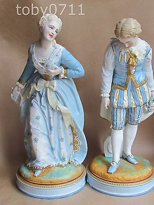 VION & BAURY FRENCH BISQUE PORCELAIN LARGE PAIR OF BOY & GIRL FIGURES (Ref2099)