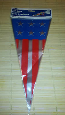 20 Cone Shaped Cello Bags PATRIOTIC Plastic Party Bags Birthday 4th of July