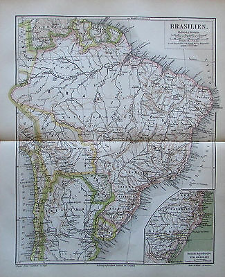 Landkarte aus 1888 - Brasilien - Lithographie antique map