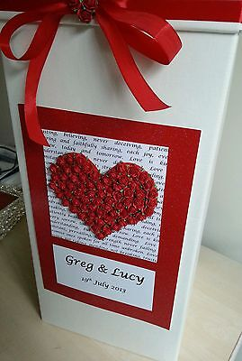 Personalised contemporary Wedding Card Post Box any colour - mulberry paper rose