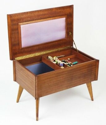 Vintage Retro Teak Sewing Box with Contents - FREE Shipping [PL3558]
