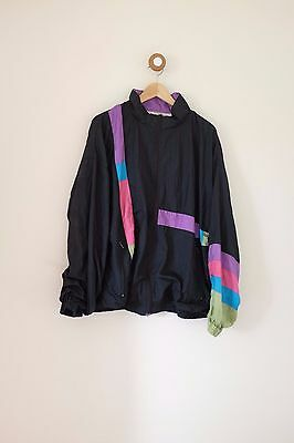 Vintage 80's/90's festival black shell suit jacket