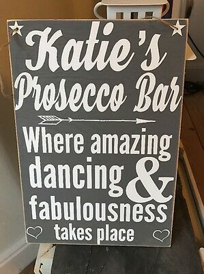 Personalised Prosecco Bar Party Drink Novelty Gift Wooden Hanging Plaque Sign