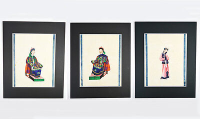 34x28 cm 3 LOT ANTIQUE CHINESE PITH RICE PAPER PAINTING MANDARIN COURT 19th