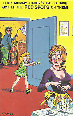 Vintage 1970's Bamforth COMIC Postcard (as new condition) Daddy's balls #470