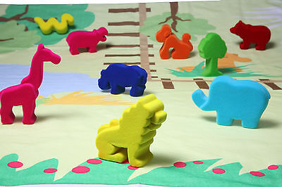 Rubber Green toys Baby Playmat with soft Animals