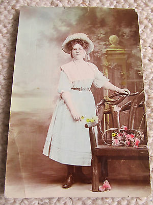 Colour Lady Photo Postcard from 1900's, used 30-11-08 from Albert Part to Coburg