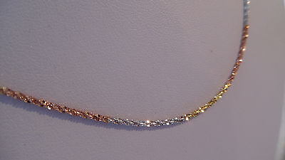 925 Sterling Silver 14ct tri Gold plated Necklace/Chain