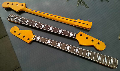 Maple Neck, Jazz Bass style: Bound Rosewood 20 Fretboard, Block Inlay, Binding