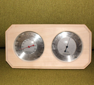 Sauna Temperature and humidity gauge, Natural wood and stainless steel