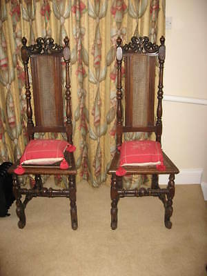 RARE PAIR OF LATE17th CENTURY WALNUT HIGHBACK ANTIQUE CHAIRS OF SUPERB COLOUR