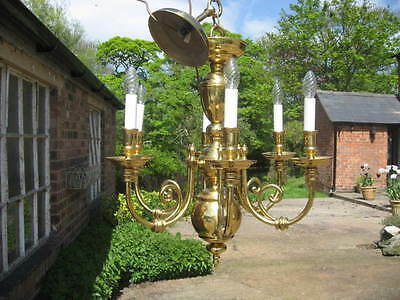 Large Vintage Dutch Style 6 Branch Brass Chandelier Outstanding Quality  /3919