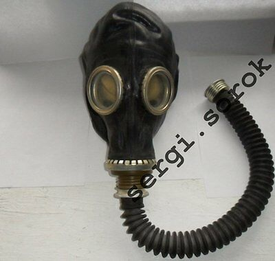 NBC RUSSIAN  RUBBER GAS MASK GP-5 with Hose, TUBE, BAG Black Military new only
