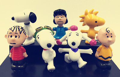 7pcs 7STYLES PEANUTS Figure Playset Toppers Snoopy PE 5cm Childrne Toys Doll