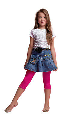 Girls Kids Cropped 3/4 Cotton Summer School Leggings All Age 3 4 5 6 7 8 9 10 12