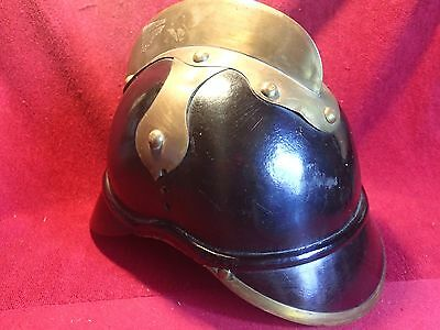 ANTIQUE VINTAGE FIREFIGHTERS Fire Fighters LEATHER HELMET GERMANY GERMAN ??