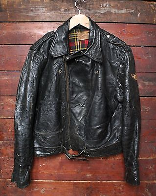 VTG 40s BRITISH SPORTSWEAR BLACK HORSEHIDE LEATHER MOTORCYCLE JACKET BIKER 40