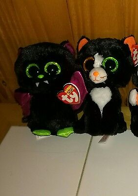 TY Beanie Boos lot - Halloween boos Frights & Igor bat - tags attached