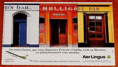 French 1991 Aer Lingus Ad With Irish Pubs In Dublin Cork & Shannon Ireland Retro