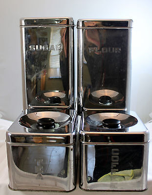 Vintage Lincoln Beautyware Chrome Metal Kitchen Canisters