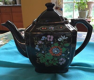 VINTAGE RED POTTERY MORIAGE HAND PAINTED TEA POT 4 Cups, Made In Japan