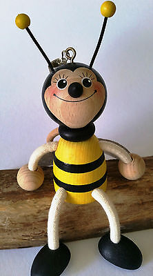 Bouncy Puppet Bee Boy Springy Handmade Wooden Decoration Toy Mobile
