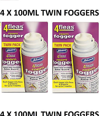 Johnsons 4Fleas Fogger 4x100ml - Flea Killer Bomb Household Room Kills Moths AZ