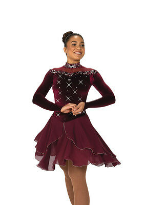 New Jerrys Competition Skating Dress 123 Wine Waltz Burgundy Made on Order