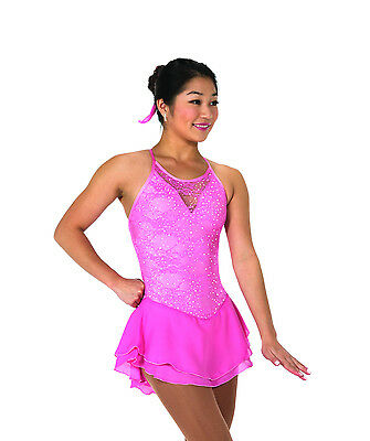 New Jerrys Competition Skating Dress 66 Lacy Bows Clear Pink Lace  Made on Order