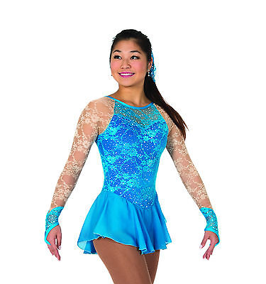New Jerrys Competition Skating Dress 73 Lace Every Place Turquoise Made on Order