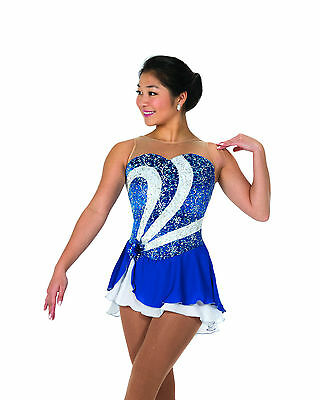 New Jerrys Competition Skating Dress 80 Side Swirl Royal Blue Made on Order