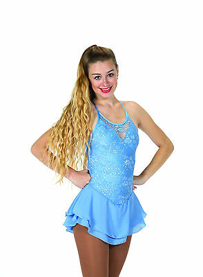 New Jerrys Competition Skating Dress 66 Lacy Bows Light Blue Lace  Made on Order