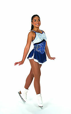 New Jerrys Competition Skating Dress 67 Clarity Blue  Empire Waist Made on Order