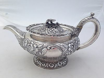 Tea Pot Repousse Sterling Silver 1813 London  Wm. Elliott Flowers Teapot 12""