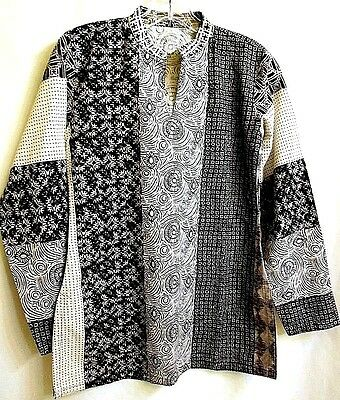 Quilt Pattern Black White Cotton Tunic Top Blouse Long Sleeve S  Ethnic Handmade