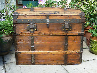 Large Impressive Antique Victorian Waxed Pine Travel Trunk Box Chest Vintage