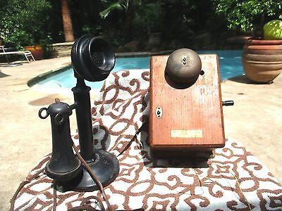 Antique Vintage Western Electric Company Candlestick Telephone with Wall Base