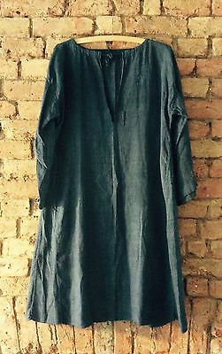 Antique Late 1800s - Early 1900s French Indigo Linen Smock Shirt Overall
