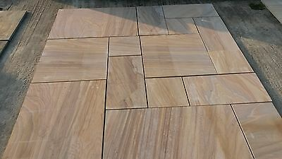 RAINBOW SMOOTH NATURAL SANDSTONE INDIAN SLABS 18.37 SQM PATIO PACKS- £22.sq.m