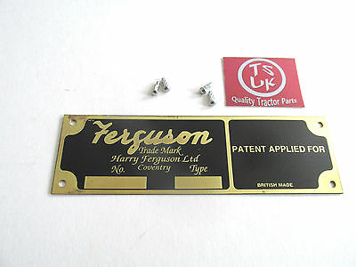 FERGUSON TE20 TRACTOR IMPLEMENT  PLATE   (patent applied for)    NEW