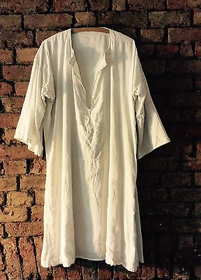 Antique Late 1800s - Early 1900s French Linen Smock Shirt Overall Nightdress