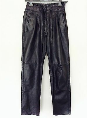 Ace Vintage Leather Trousers Pants  80s High Waist Tie Belt Rare! Stylish 8
