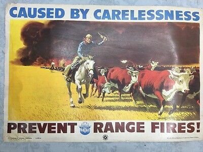 VTg~1962~(SMOKEY THE BEAR POSTER) Prevent Range Fires~ Cow Boys