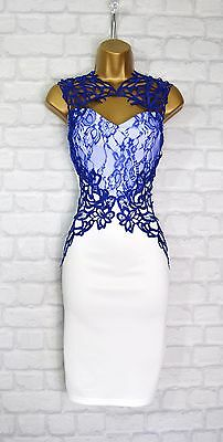 ~NASIA~ White & Blue Lace Floral Bodycon Evening Midi Pencil Party Dress 10 12