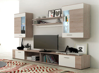 walll unit furniture living room tv stand oak sonoma-white free led lights NEW.