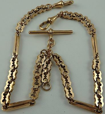 Victorian 14.5 inch 9ct rose gold double albert watch guard chain 21.6 grams